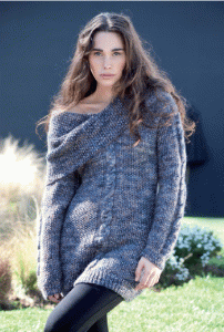 "Free knitting pattern ""Sweater with big collar"""
