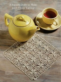 Tatted square doily