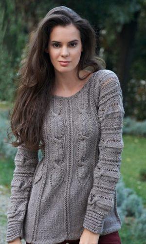 Knitted jumper for women-free knitting pattern