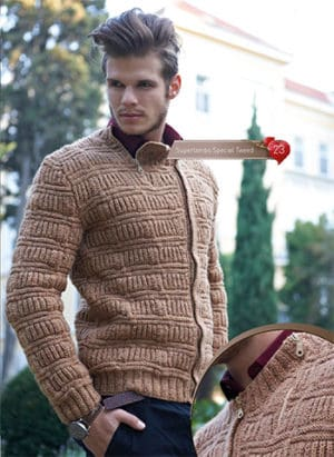 Knitted pullover men zip