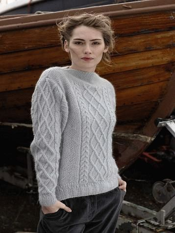"""4ea89b5f4 Free knitting pattern """"Aran sweater"""" Aran pullover """"Shannon"""" by designer  Marie Wallin."""