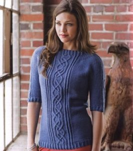 women-sweater-3-4-sleeve-knitting-pattern