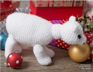 Christmas knitted toys-polar bear