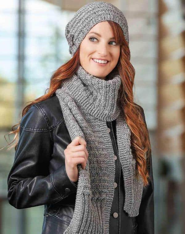BASKET-WEAVE CAP & SCARF-free knitting pattern