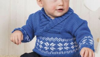 Scandi  style jumper with  hat for baby-free knitting pattern